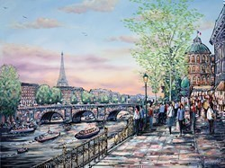 Evening Stroll, Paris by Phillip Bissell -  sized 40x30 inches. Available from Whitewall Galleries